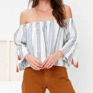 Blue & white striped Tularosa off the shoulder top